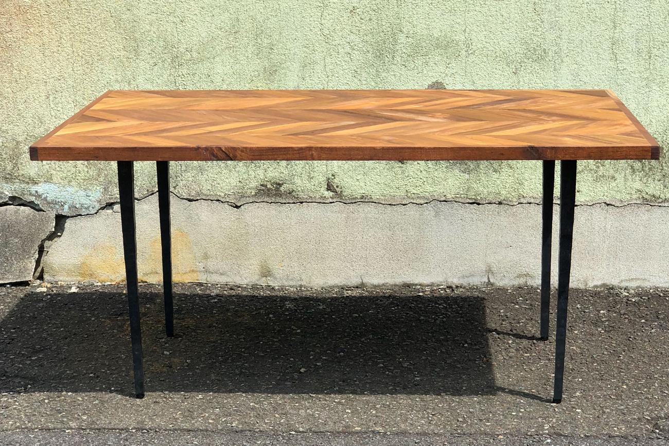 Wrought iron leg for custom table